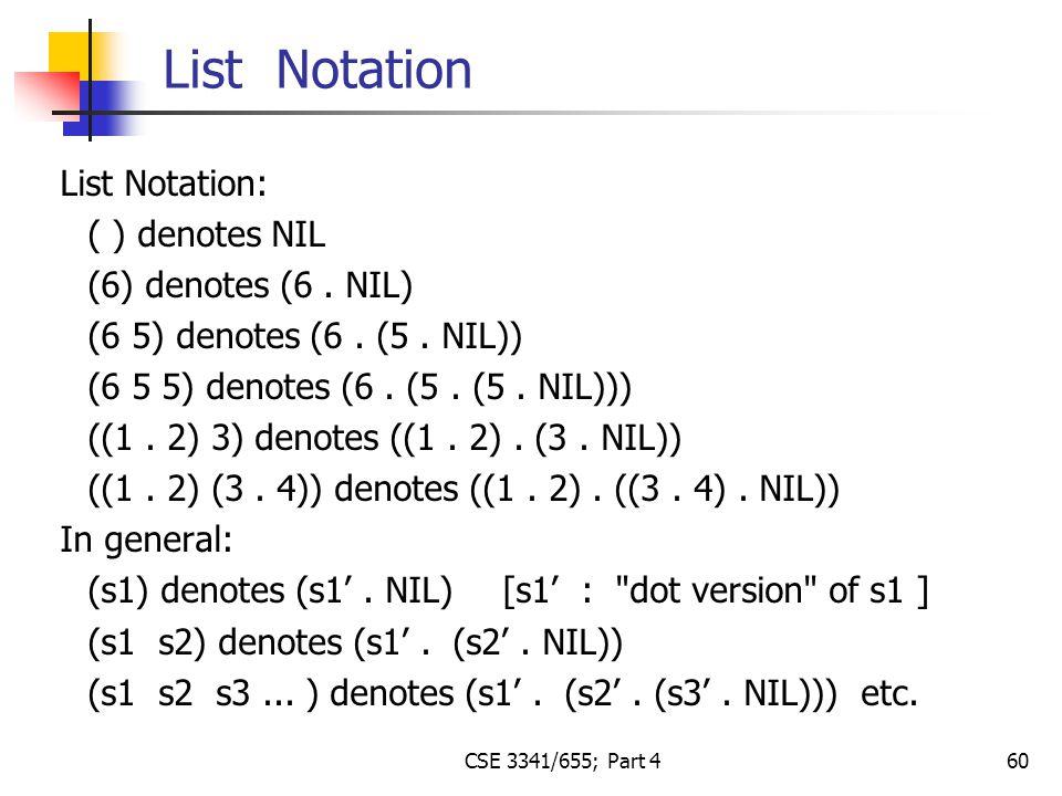 60 List Notation: ( ) denotes NIL (6) denotes (6. NIL) (6 5) denotes (6.
