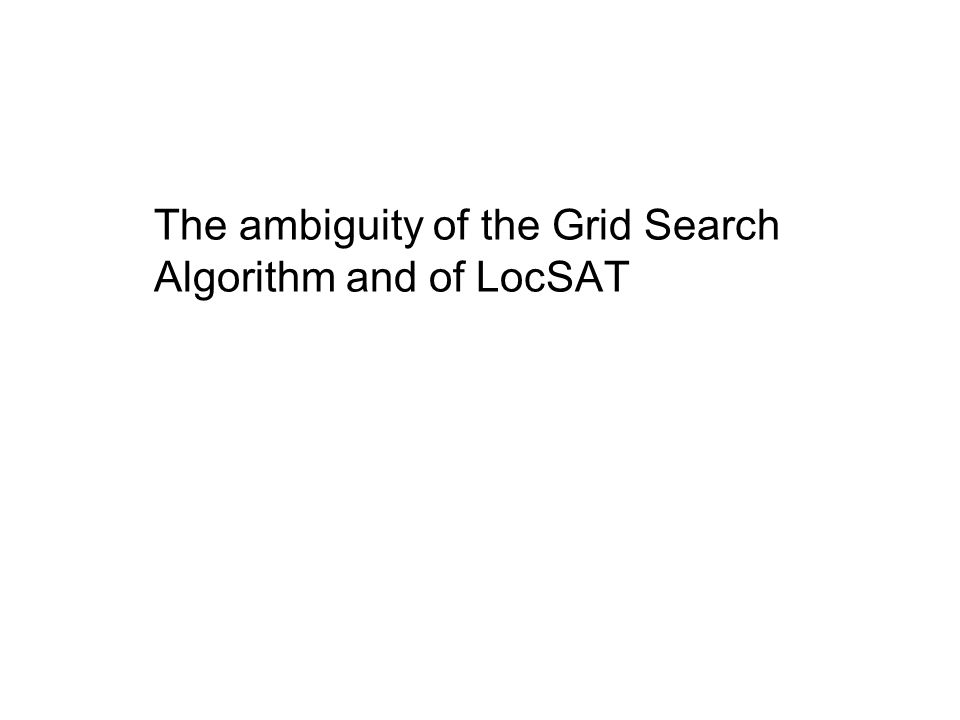 The ambiguity of the Grid Search Algorithm and of LocSAT