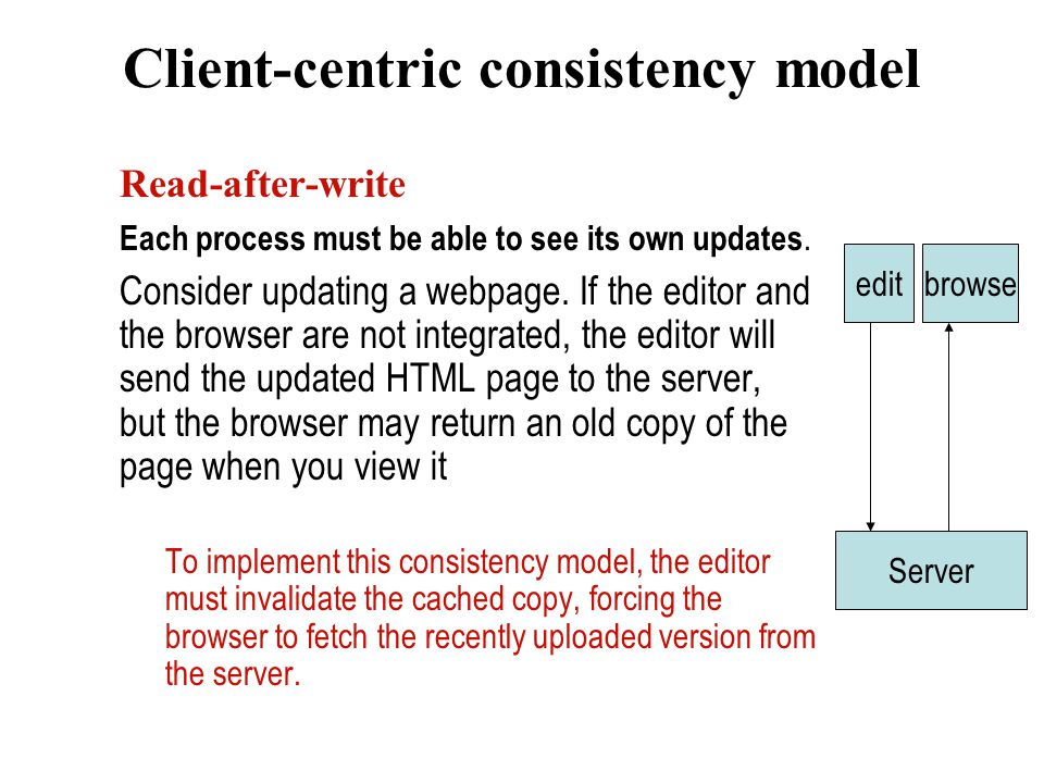 Client-centric consistency model Read-after-write Each process must be able to see its own updates.