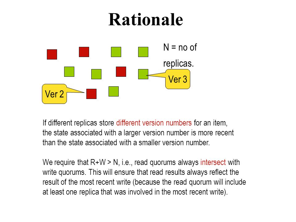 Rationale N = no of replicas. Ver 3 Ver 2 If different replicas store different version numbers for an item, the state associated with a larger versio
