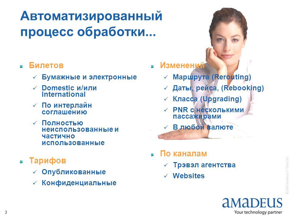 © 2006 Amadeus IT Group SA 3 Автоматизированный процесс обработки...