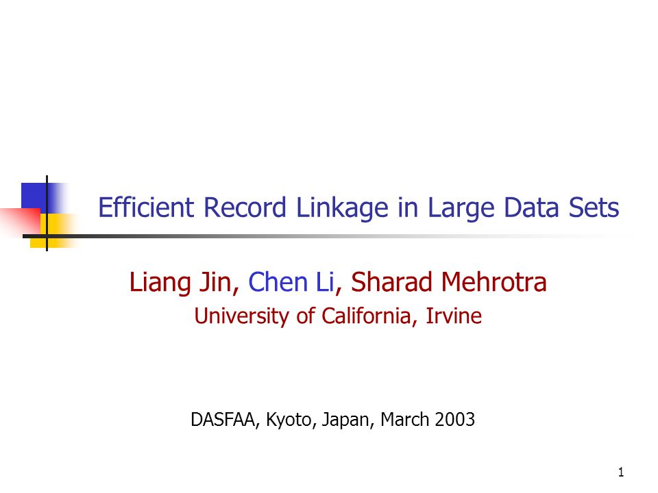 2 Motivation Correlate data from different data sources (e.g., data integration) — Data is often dirty — Needs to be cleansed before being used Example: — A hospital needs to merge patient records from different data sources — They have different formats, typos, and abbreviations