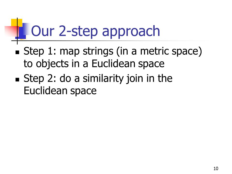 10 Our 2-step approach Step 1: map strings (in a metric space) to objects in a Euclidean space Step 2: do a similarity join in the Euclidean space