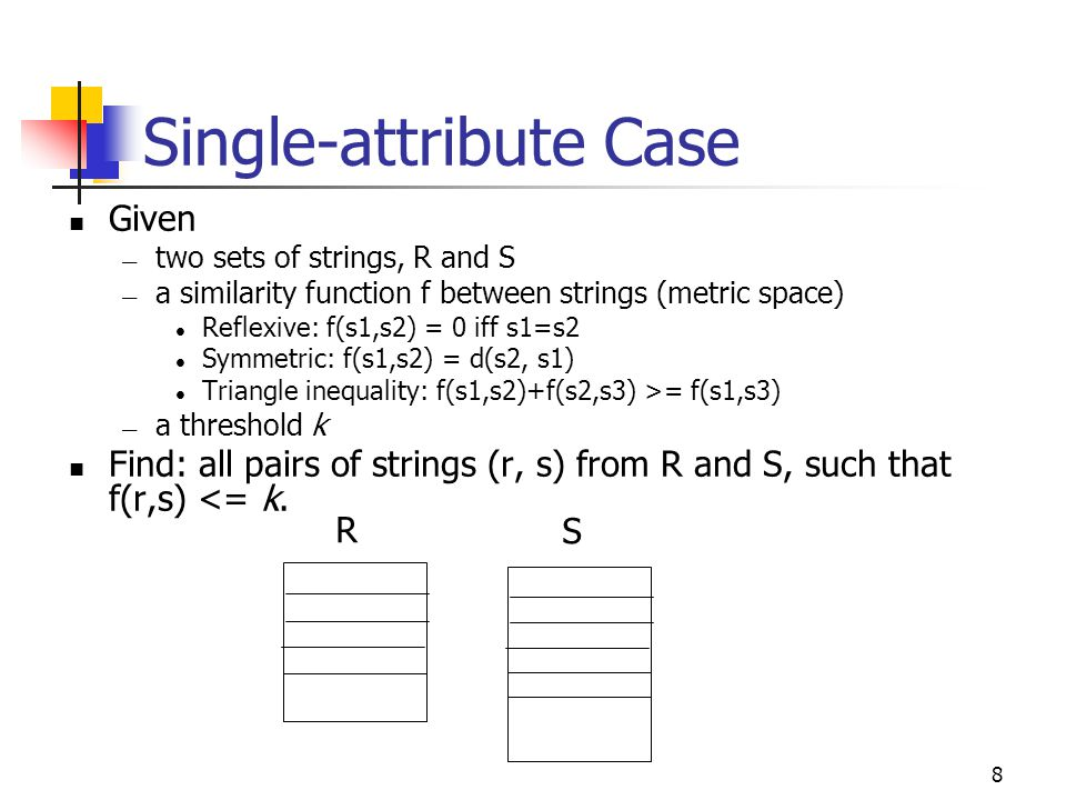 8 Single-attribute Case Given — two sets of strings, R and S — a similarity function f between strings (metric space) Reflexive: f(s1,s2) = 0 iff s1=s2 Symmetric: f(s1,s2) = d(s2, s1) Triangle inequality: f(s1,s2)+f(s2,s3) >= f(s1,s3) — a threshold k Find: all pairs of strings (r, s) from R and S, such that f(r,s) <= k.