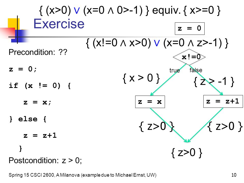Exercise Precondition: ?.