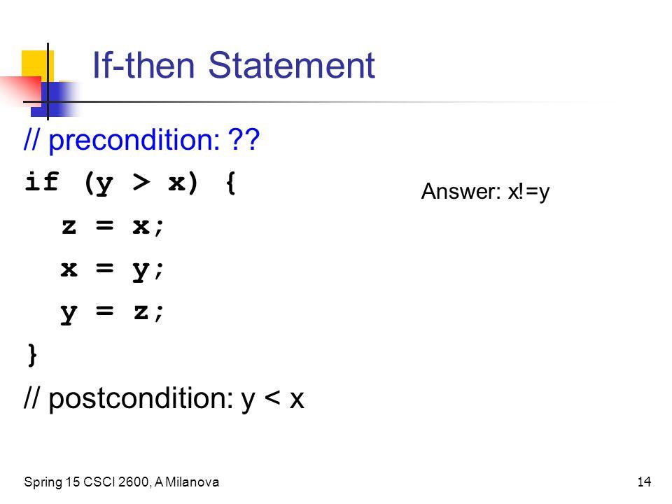 If-then Statement Spring 15 CSCI 2600, A Milanova 14 // precondition: ?.