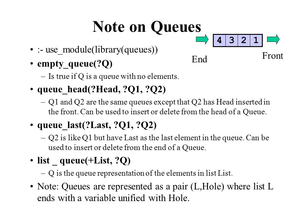 Note on Queues :- use_module(library(queues)) empty_queue( Q) –Is true if Q is a queue with no elements.