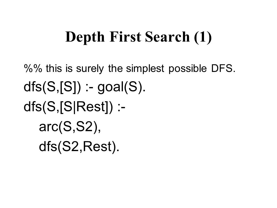 Depth First Search (1) % this is surely the simplest possible DFS.