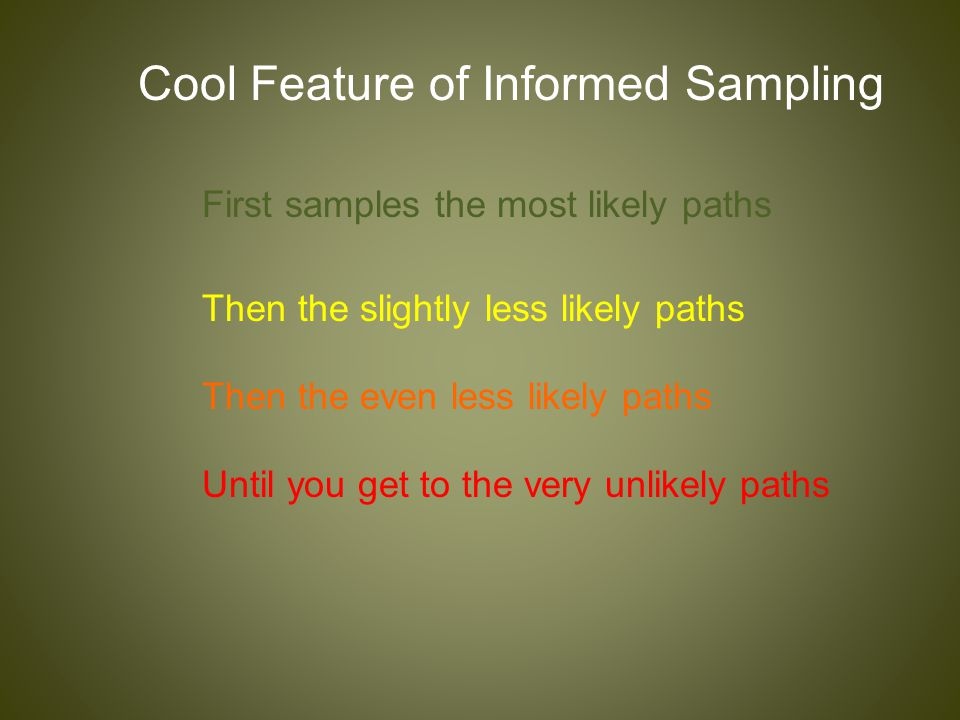 Cool Feature of Informed Sampling First samples the most likely paths Then the slightly less likely paths Until you get to the very unlikely paths The