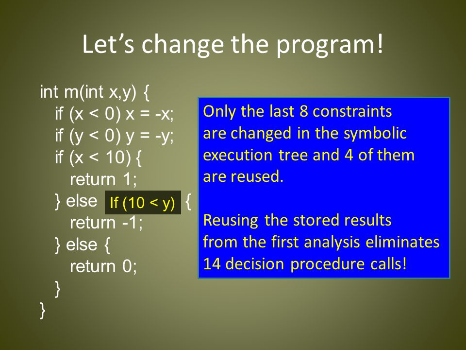 Let's change the program! int m(int x,y) { if (x < 0) x = -x; if (y < 0) y = -y; if (x < 10) { return 1; } else if (9 < y) { return -1; } else { retur