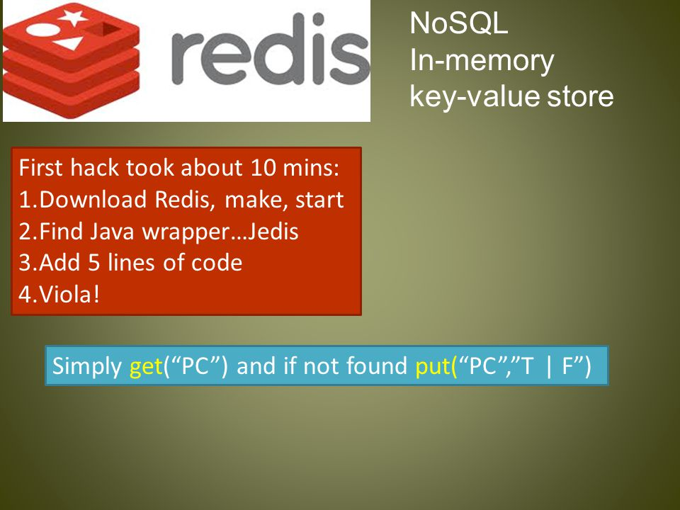 NoSQL In-memory key-value store First hack took about 10 mins: 1.Download Redis, make, start 2.Find Java wrapper…Jedis 3.Add 5 lines of code 4.Viola!