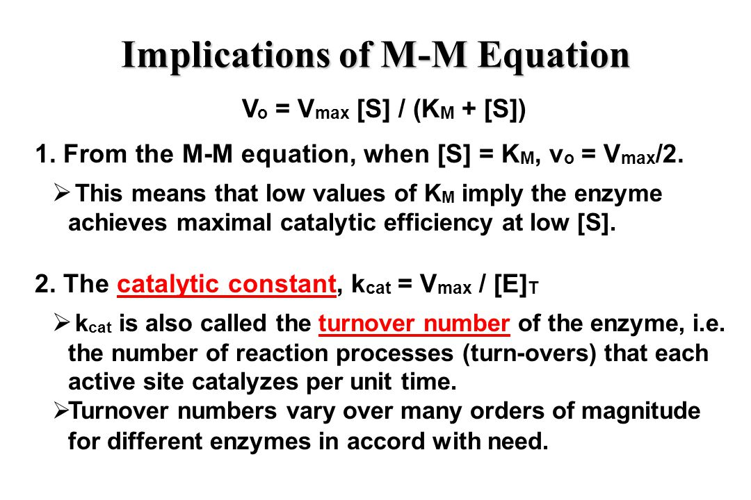 Implications of M-M Equation V o = V max [S] / (K M + [S]) 1.