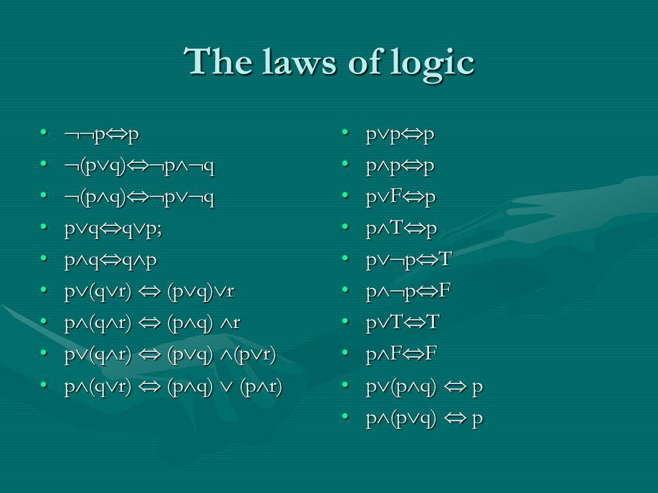 The laws of logic  p  p  p  p  (p  q)  p  q  (p  q)  p  q  (p  q)  p  q  (p  q)  p  q p  q  q  p;p  q  q  p; p  q  q  pp  q  q  p p  (q  r)  (p  q)  rp  (q  r)  (p  q)  r p  (q  r)  (p  q)  rp  (q  r)  (p  q)  r p  (q  r)  (p  q)  (p  r)p  (q  r)  (p  q)  (p  r) p  (q  r)  (p  q)  (p  r)p  (q  r)  (p  q)  (p  r) p  p  p p  p  p p  F  p p  T  p p  p  T p  p  F p  T  T p  F  F p  (p  q)  p p  (p  q)  p