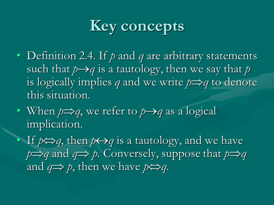 Key concepts Definition 2.4.
