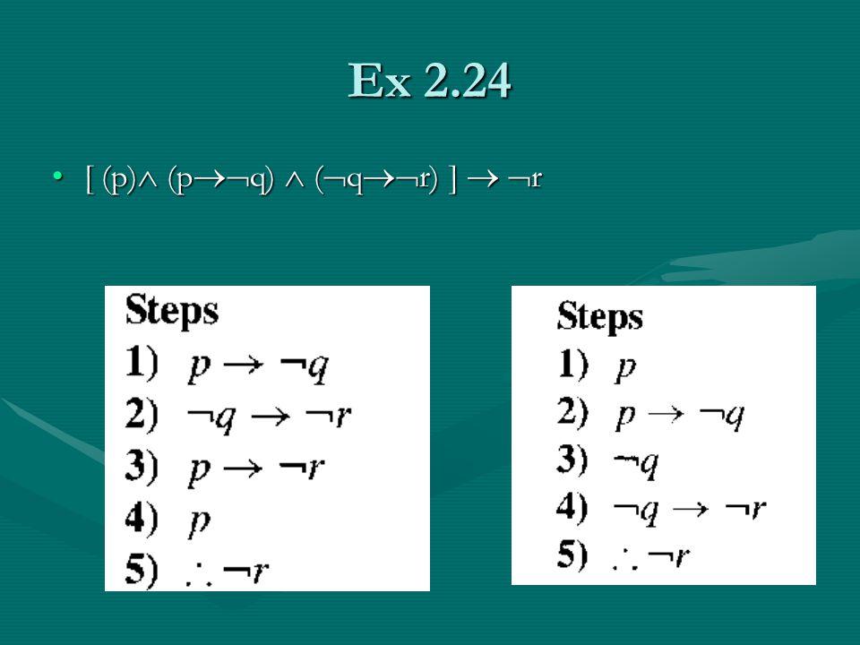 Ex 2.24 [ (p)  (p  q)  (  q  r) ]   r[ (p)  (p  q)  (  q  r) ]   r