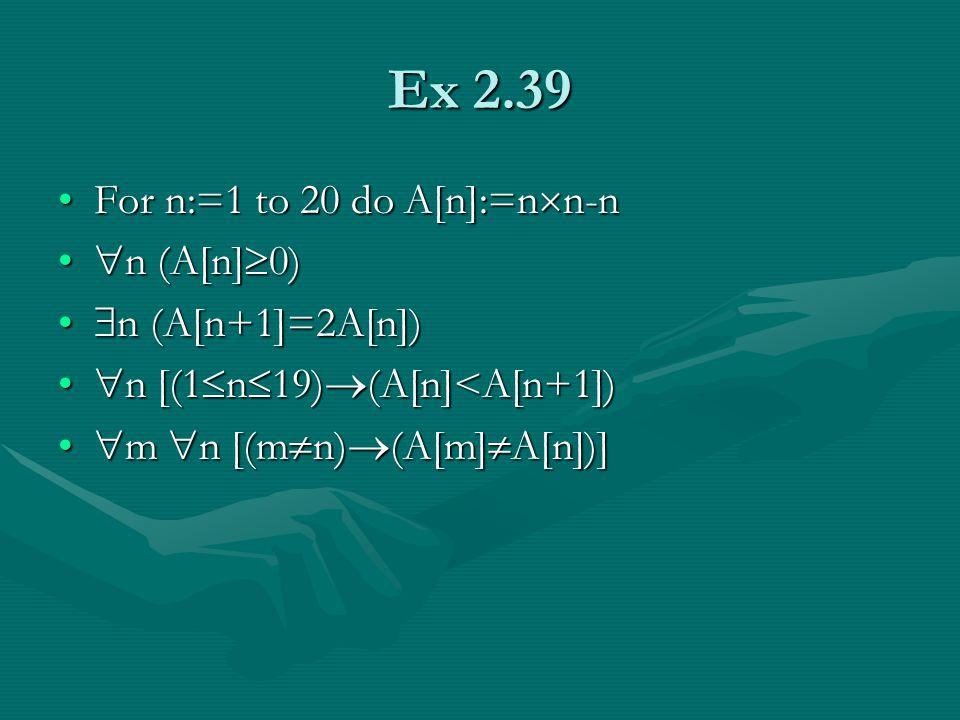 Ex 2.39 For n:=1 to 20 do A[n]:=n  n-nFor n:=1 to 20 do A[n]:=n  n-n  n (A[n]  0)  n (A[n]  0)  n (A[n+1]=2A[n])  n (A[n+1]=2A[n])  n [(1  n  19)  (A[n]<A[n+1])  n [(1  n  19)  (A[n]<A[n+1])  m  n [(m  n)  (A[m]  A[n])]  m  n [(m  n)  (A[m]  A[n])]