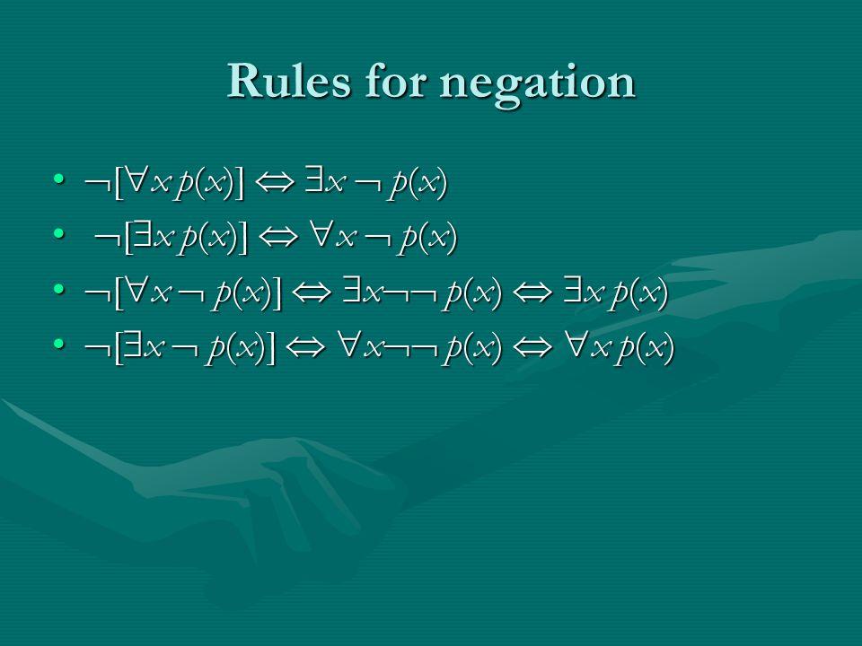 Rules for negation  [  x p(x)]   x  p(x)  [  x p(x)]   x  p(x)  [  x p(x)]   x  p(x)  [  x p(x)]   x  p(x)  [  x  p(x)]   x  p(x)   x p(x)  [  x  p(x)]   x  p(x)   x p(x)  [  x  p(x)]   x  p(x)   x p(x)  [  x  p(x)]   x  p(x)   x p(x)