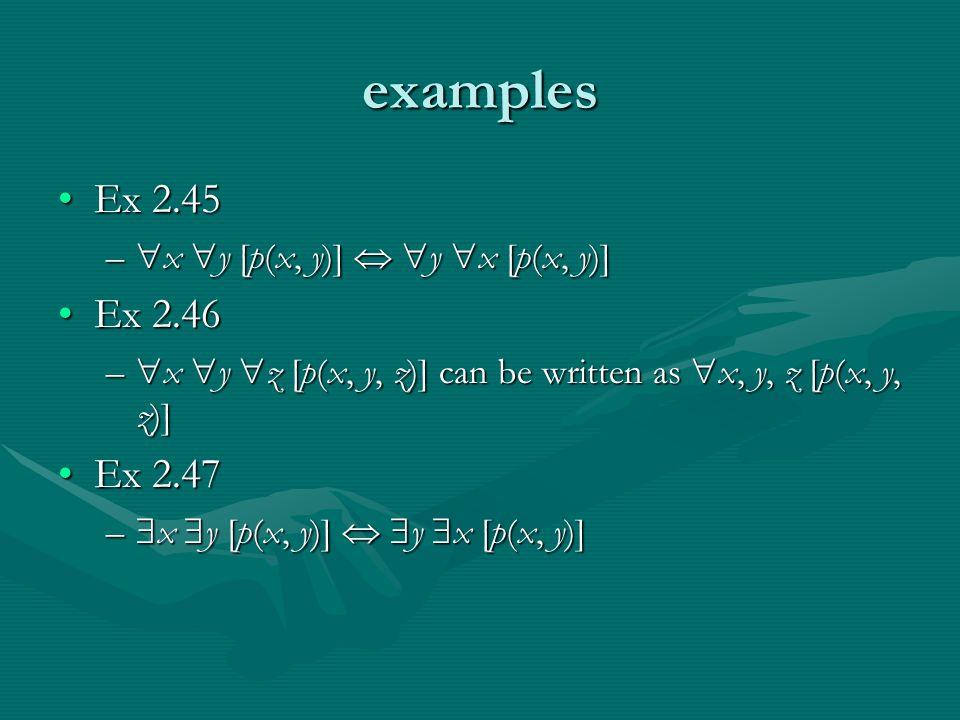 examples Ex 2.45Ex 2.45 –  x  y [p(x, y)]   y  x [p(x, y)] Ex 2.46Ex 2.46 –  x  y  z [p(x, y, z)] can be written as  x, y, z [p(x, y, z)] Ex 2.47Ex 2.47 –  x  y [p(x, y)]   y  x [p(x, y)]