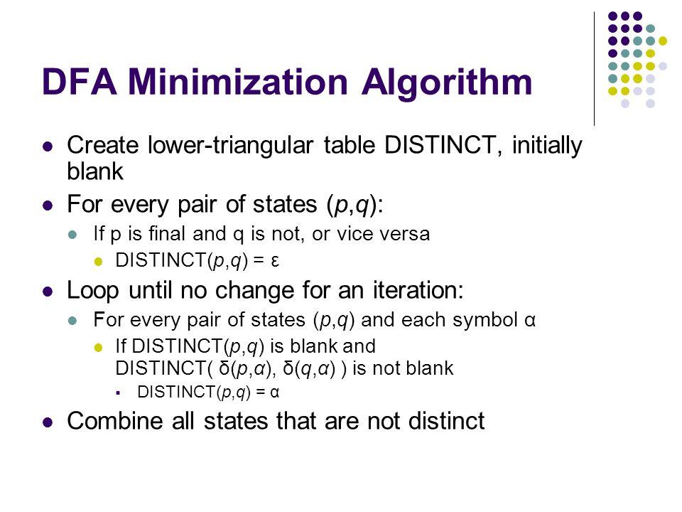 More Complex Example Combine equivalent states for minimized DFA: