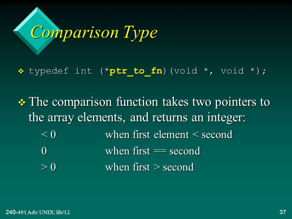 240-491 Adv. UNIX: lib/1237 Comparison Type  typedef int (*ptr_to_fn)(void *, void *); v The comparison function takes two pointers to the array elem