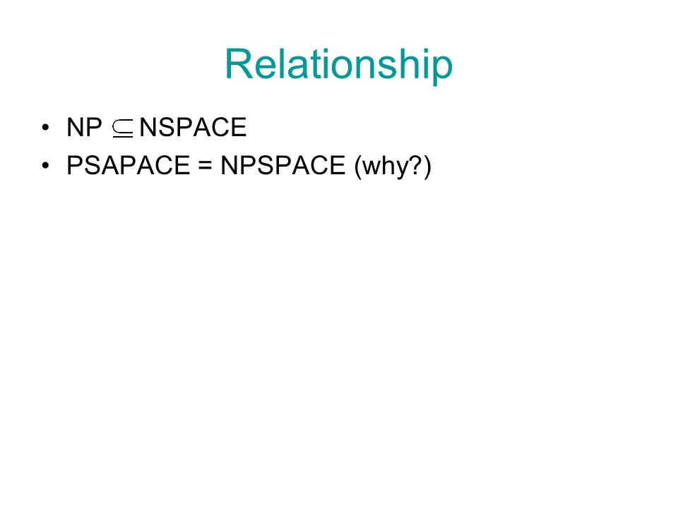 Relationship NP NSPACE PSAPACE = NPSPACE (why?)