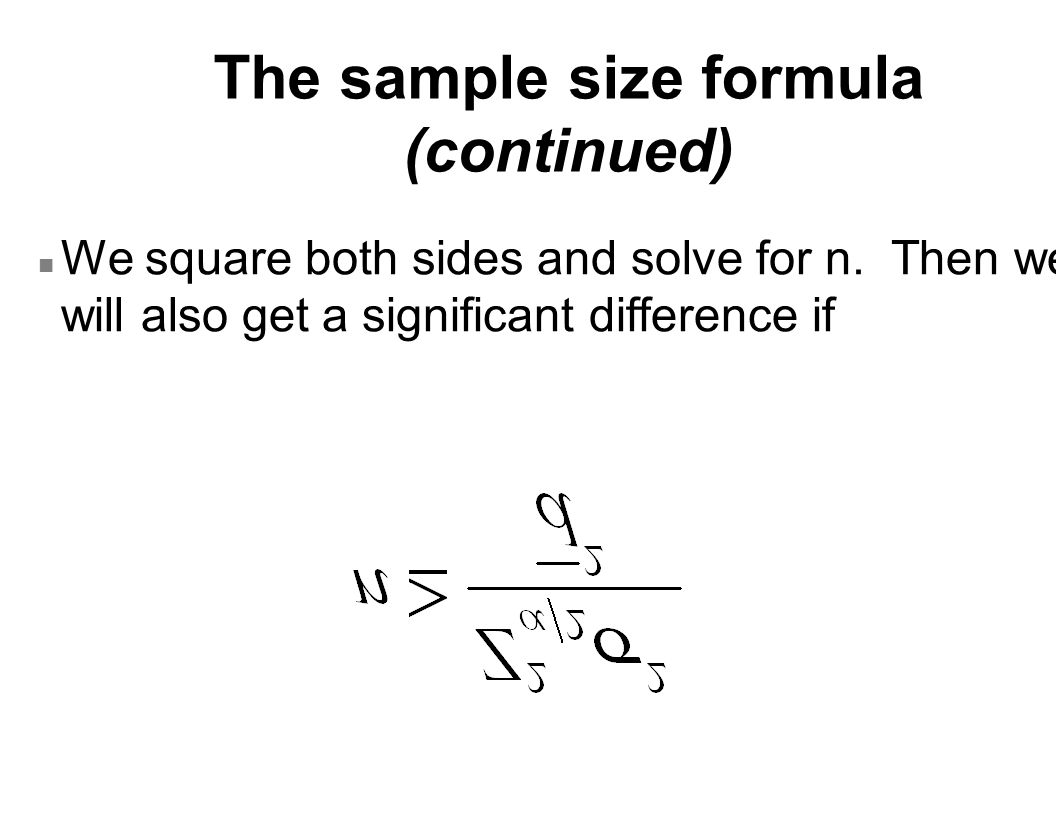 The sample size formula (continued) n We square both sides and solve for n.