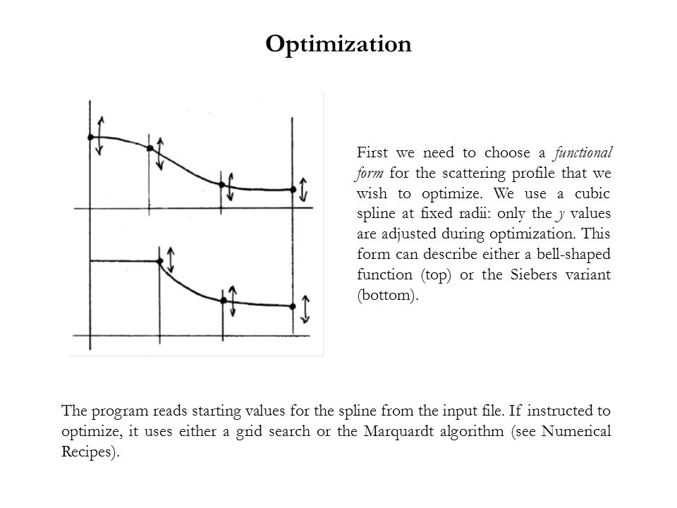 Optimization First we need to choose a functional form for the scattering profile that we wish to optimize. We use a cubic spline at fixed radii: only