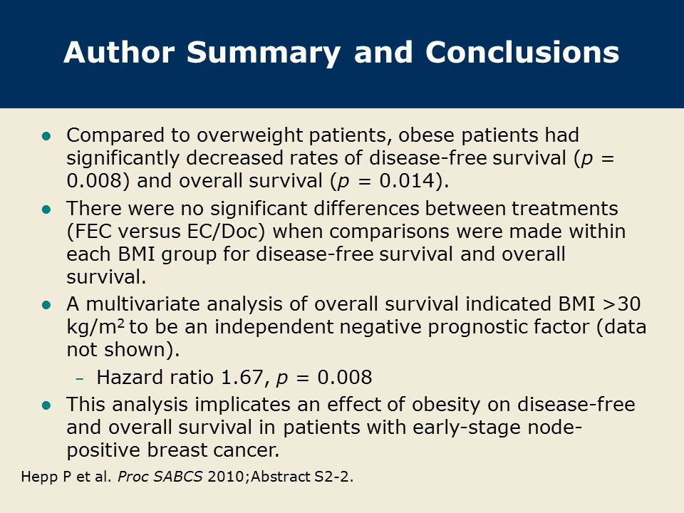 Author Summary and Conclusions Compared to overweight patients, obese patients had significantly decreased rates of disease-free survival (p = 0.008)