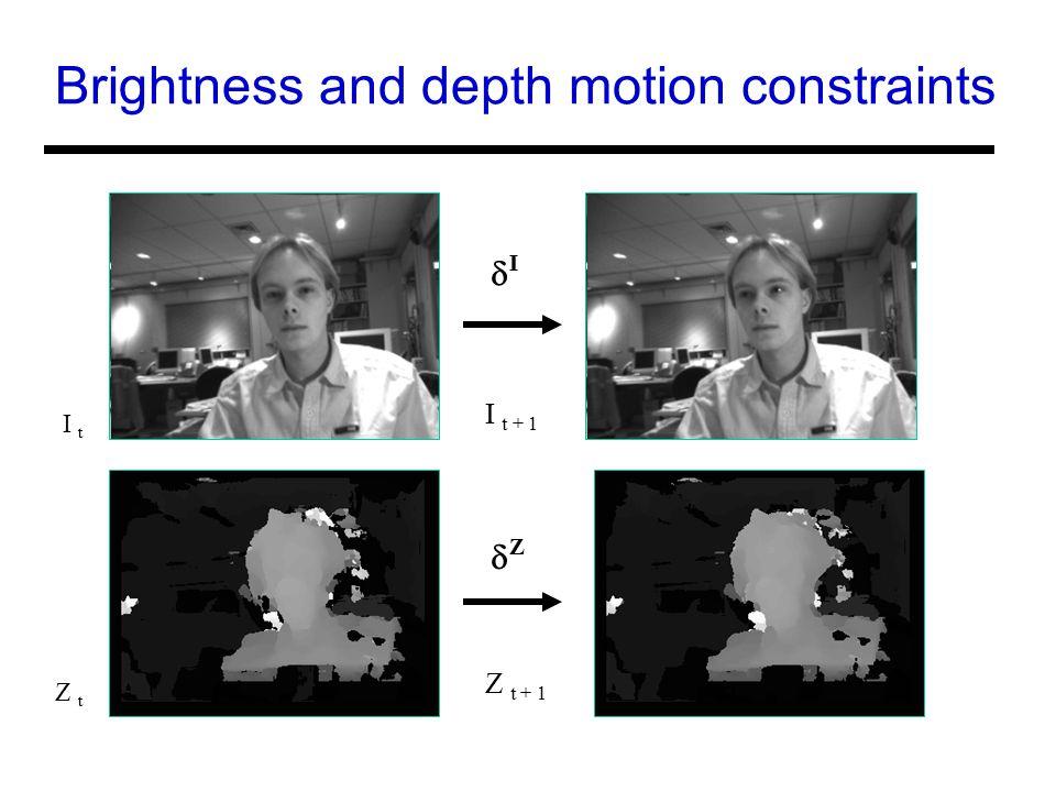 Brightness and depth motion constraints I t I t + 1 II ZZ Z t Z t + 1