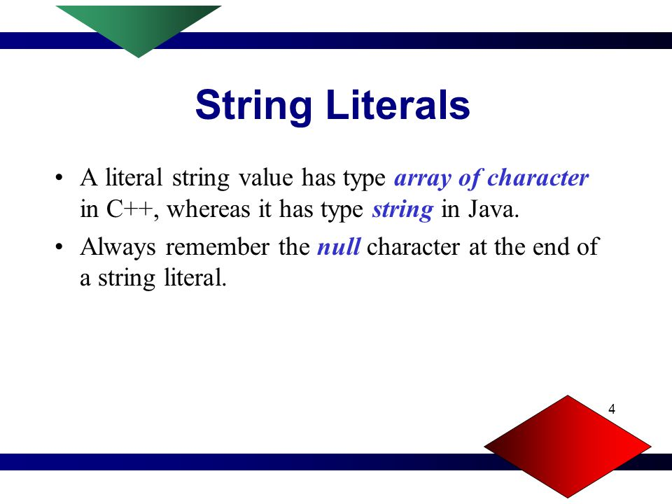 4 String Literals A literal string value has type array of character in C++, whereas it has type string in Java.