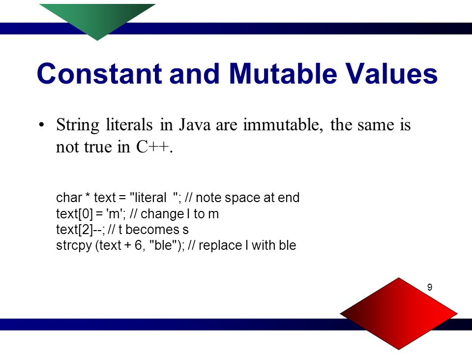9 Constant and Mutable Values String literals in Java are immutable, the same is not true in C++.