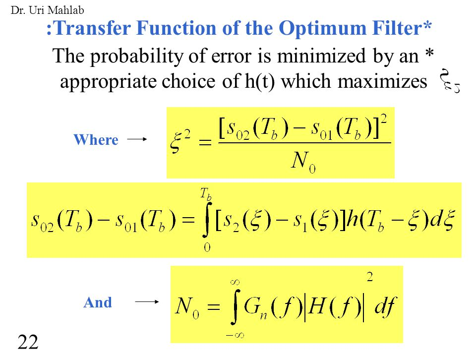 :Transfer Function of the Optimum Filter* The probability of error is minimized by an * appropriate choice of h(t) which maximizes Where And 22 Dr. Ur