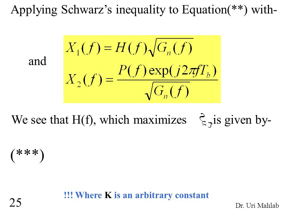 Applying Schwarz's inequality to Equation(**) with- and We see that H(f), which maximizes,is given by- !!.