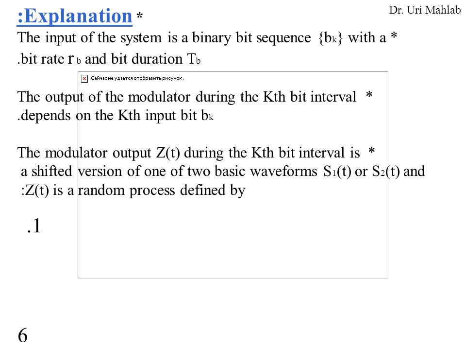 :Explanation * The input of the system is a binary bit sequence {b k } with a *.bit rate r b and bit duration T b The output of the modulator during t