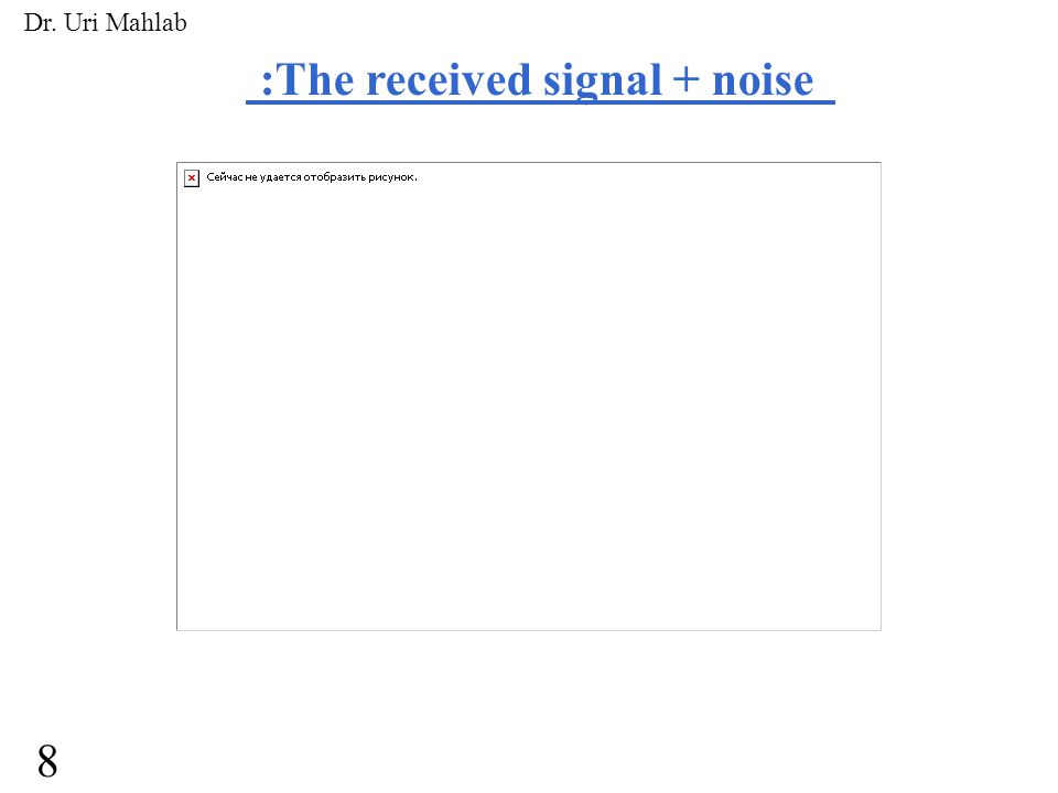 :The received signal + noise 8 Dr. Uri Mahlab