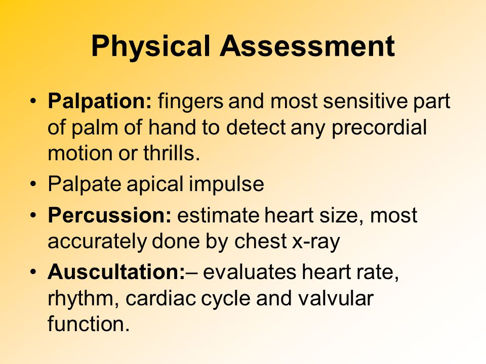 Physical Assessment Palpation: fingers and most sensitive part of palm of hand to detect any precordial motion or thrills. Palpate apical impulse Perc