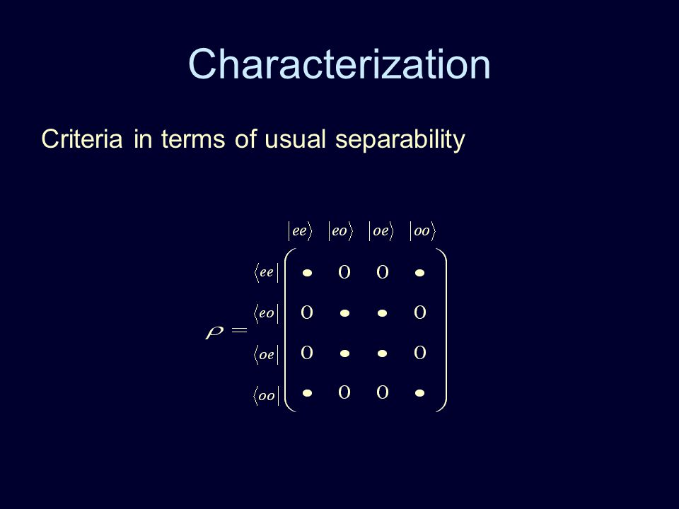 Characterization Criteria in terms of usual separability