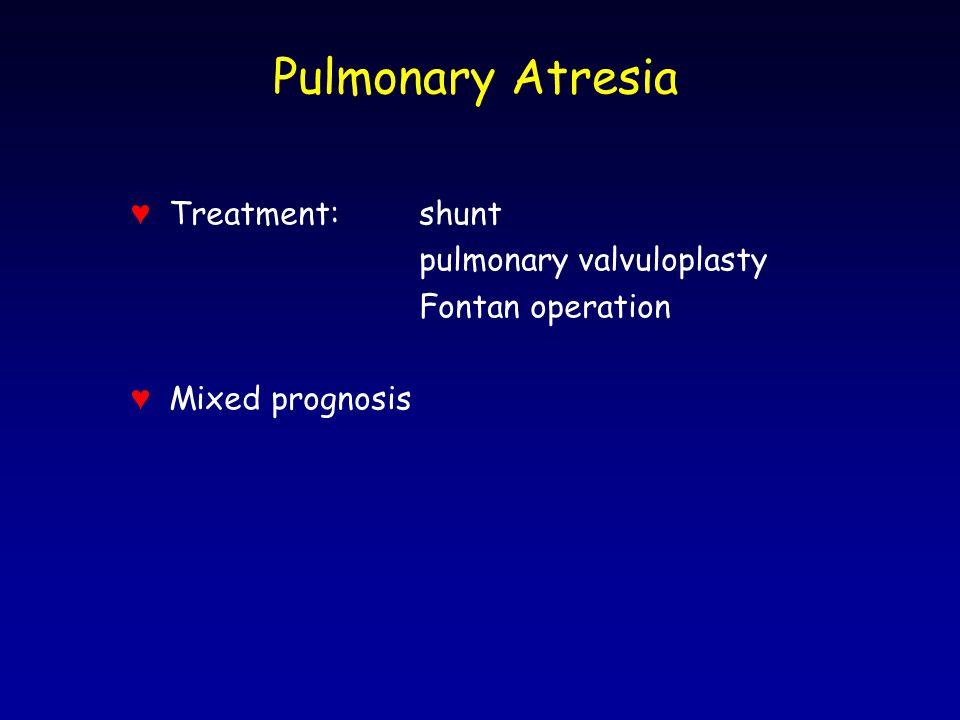 Pulmonary Atresia ♥ Treatment:shunt pulmonary valvuloplasty Fontan operation ♥ Mixed prognosis