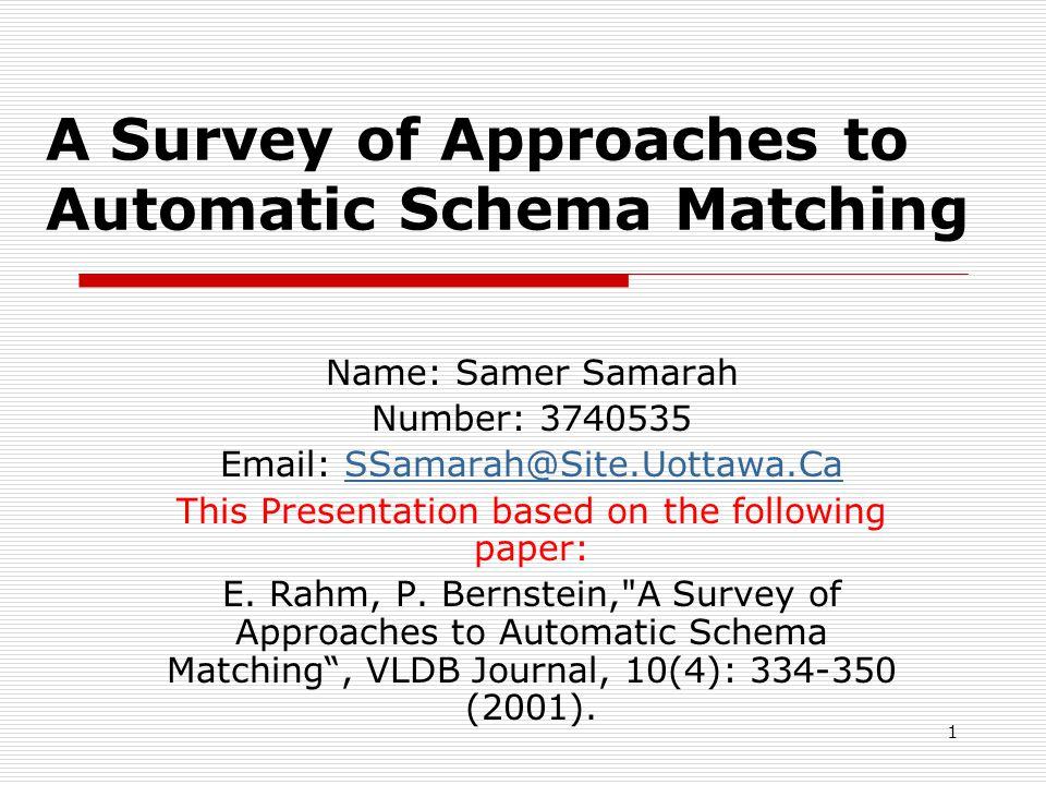 2 Presentation Outlines  Definition of Schema Matching.