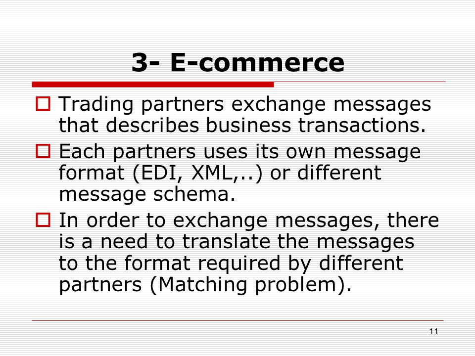 11 3- E-commerce  Trading partners exchange messages that describes business transactions.