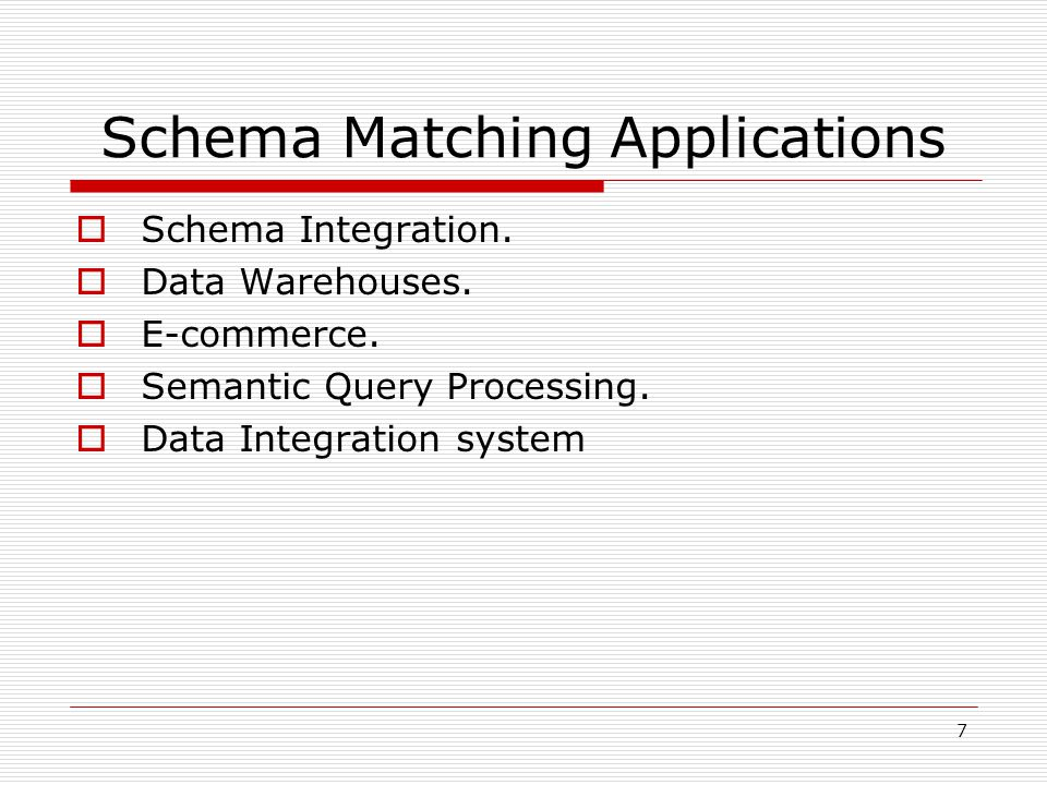 7 Schema Matching Applications  Schema Integration.