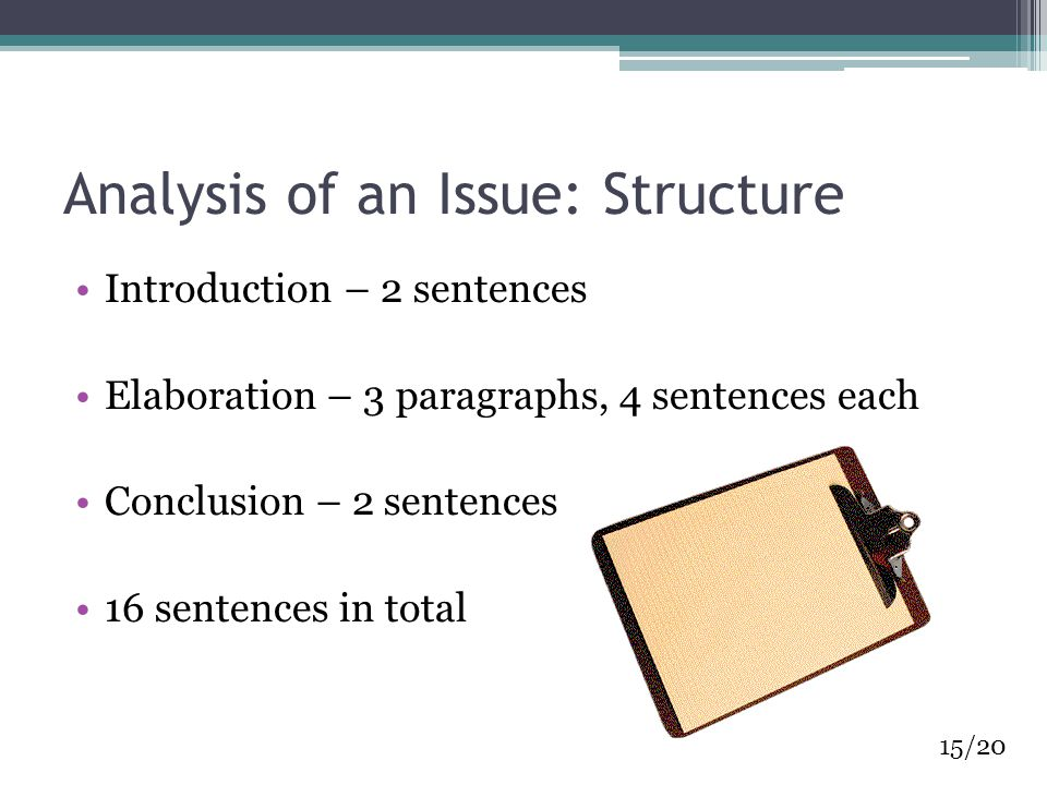 Analysis of an Issue: Structure Introduction – 2 sentences Elaboration – 3 paragraphs, 4 sentences each Conclusion – 2 sentences 16 sentences in total 15/20
