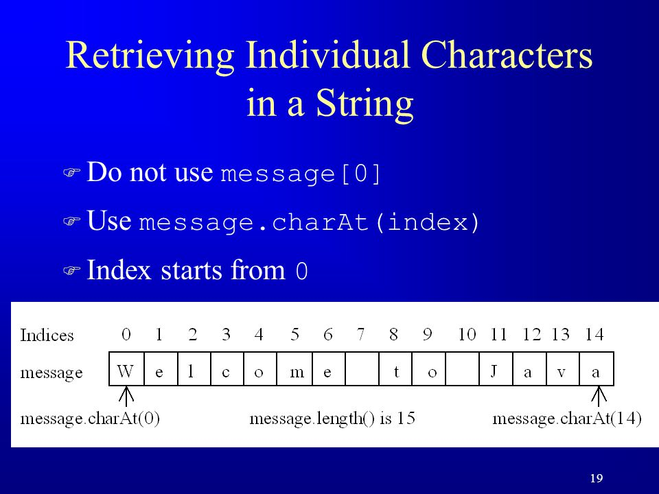 19 Retrieving Individual Characters in a String  Do not use message[0]  Use message.charAt(index)  Index starts from 0