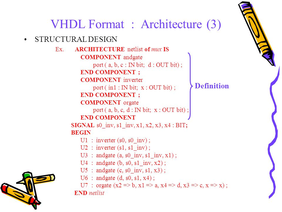 VHDL Format : Architecture (3) STRUCTURAL DESIGN Ex.