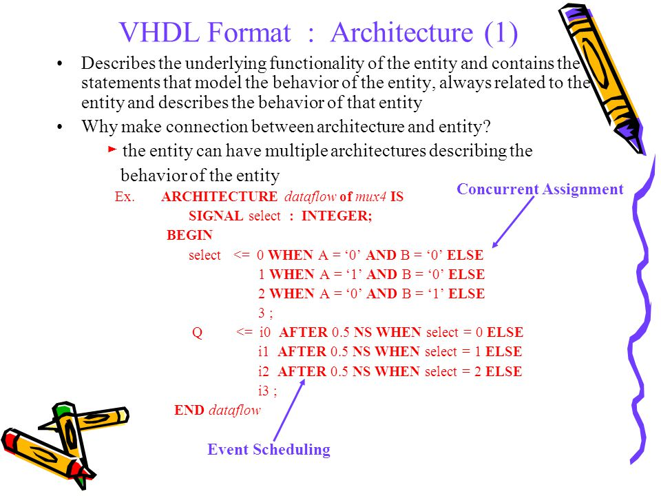 VHDL Format : Architecture (2) STRUCTURAL DESIGN