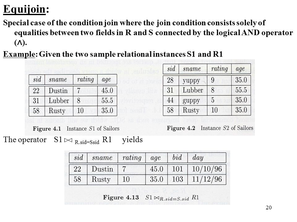 20 Equijoin: Special case of the condition join where the join condition consists solely of equalities between two fields in R and S connected by the logical AND operator ( ∧ ).