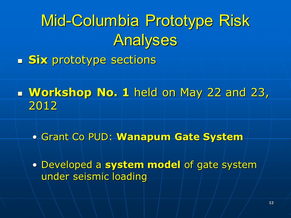 12 Mid-Columbia Prototype Risk Analyses Six prototype sections Six prototype sections Workshop No.