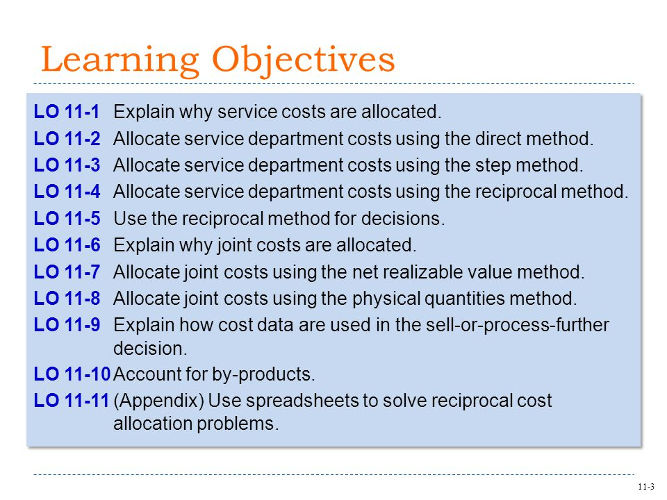 11-3 Learning Objectives LO 11-1Explain why service costs are allocated.