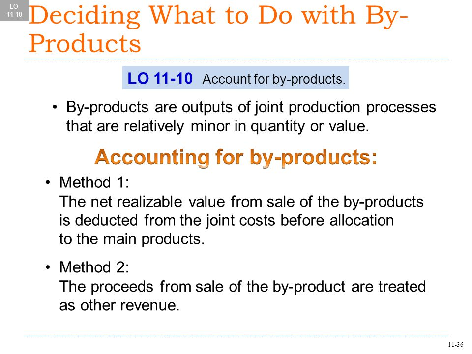11-36 Deciding What to Do with By- Products LO 11-10 Account for by-products.