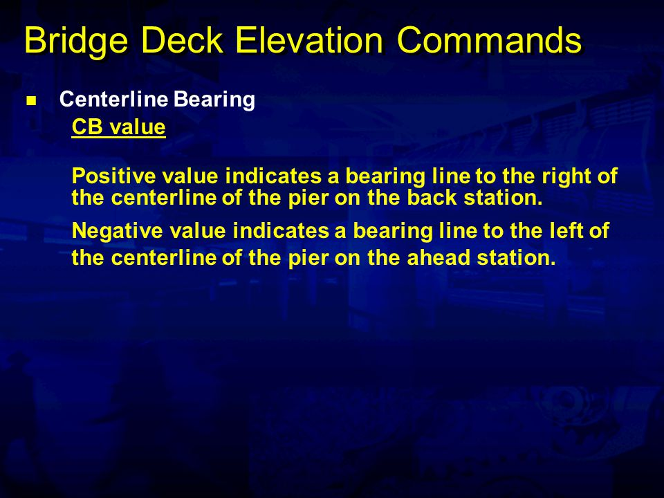 Bridge Deck Elevation Commands Face of Coping Format A FC offset_left offset_right Face of Coping Format B FC pa, pb offset_right Elevations are calculated along a line concentric to the baseline at offset distances, left and right.